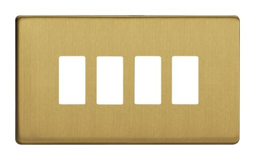 Varilight XDBPGY4S Screwless Brushed Brass 4 Gang PowerGrid Plate (Twin Plate)